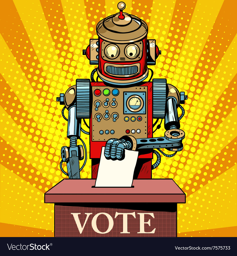 Robot the voter vote on election day vector