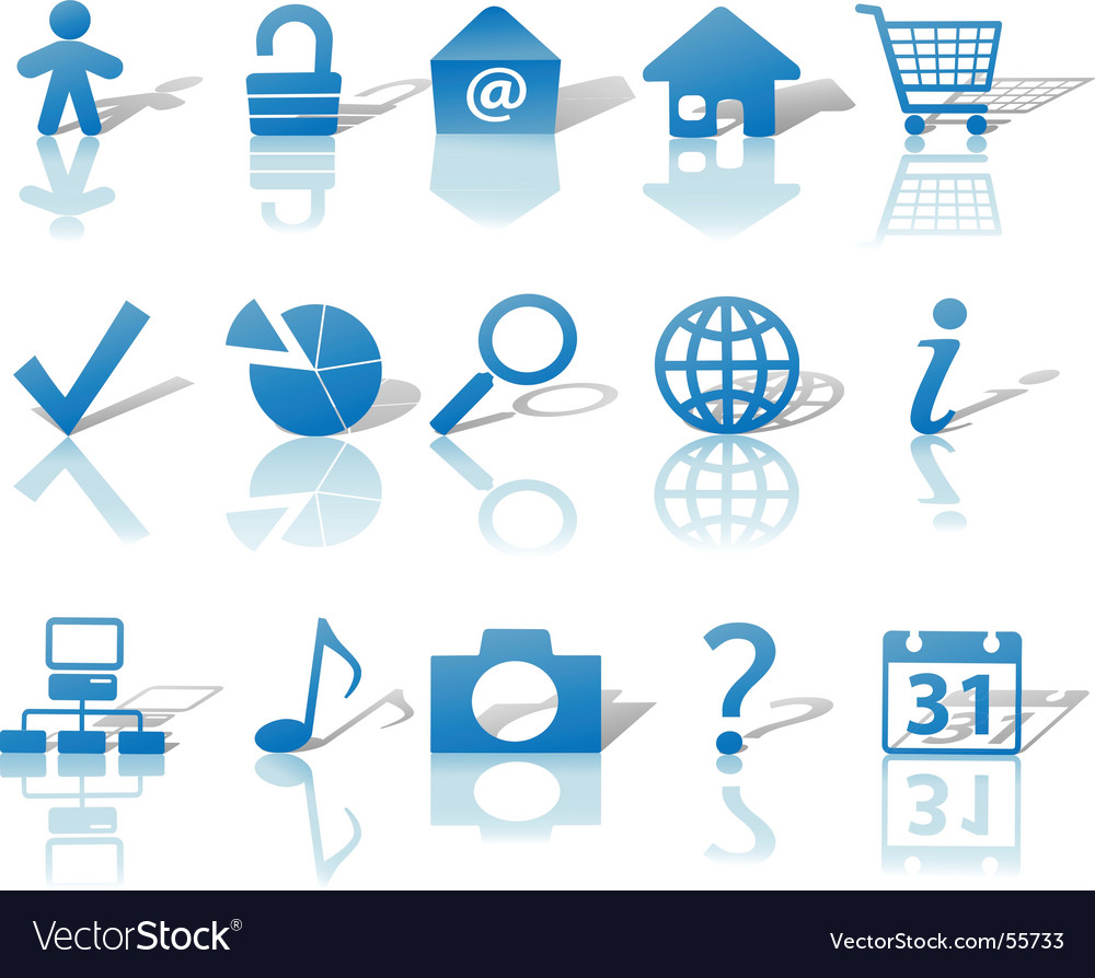 Web blue icons set vector