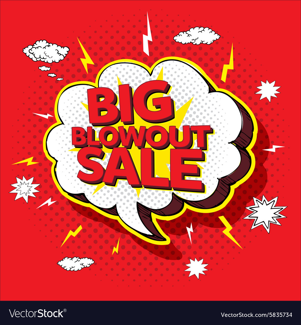 Big blowout sale pop up cartoon banner vector