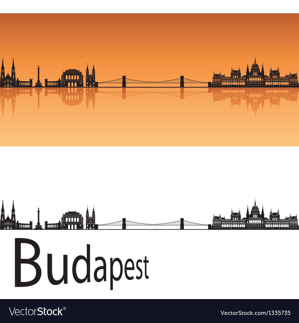 Budapest skyline in orange background vector