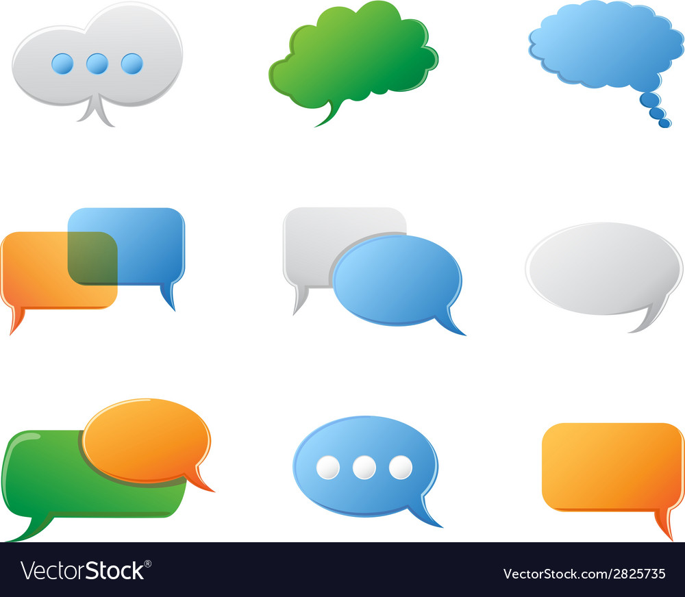Chat bubbles icon set vector