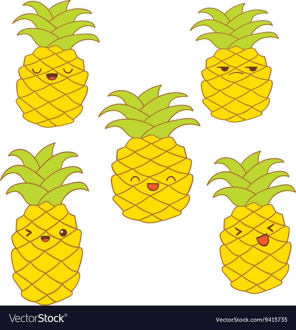 Set of cute pineapples with different emotions for vector