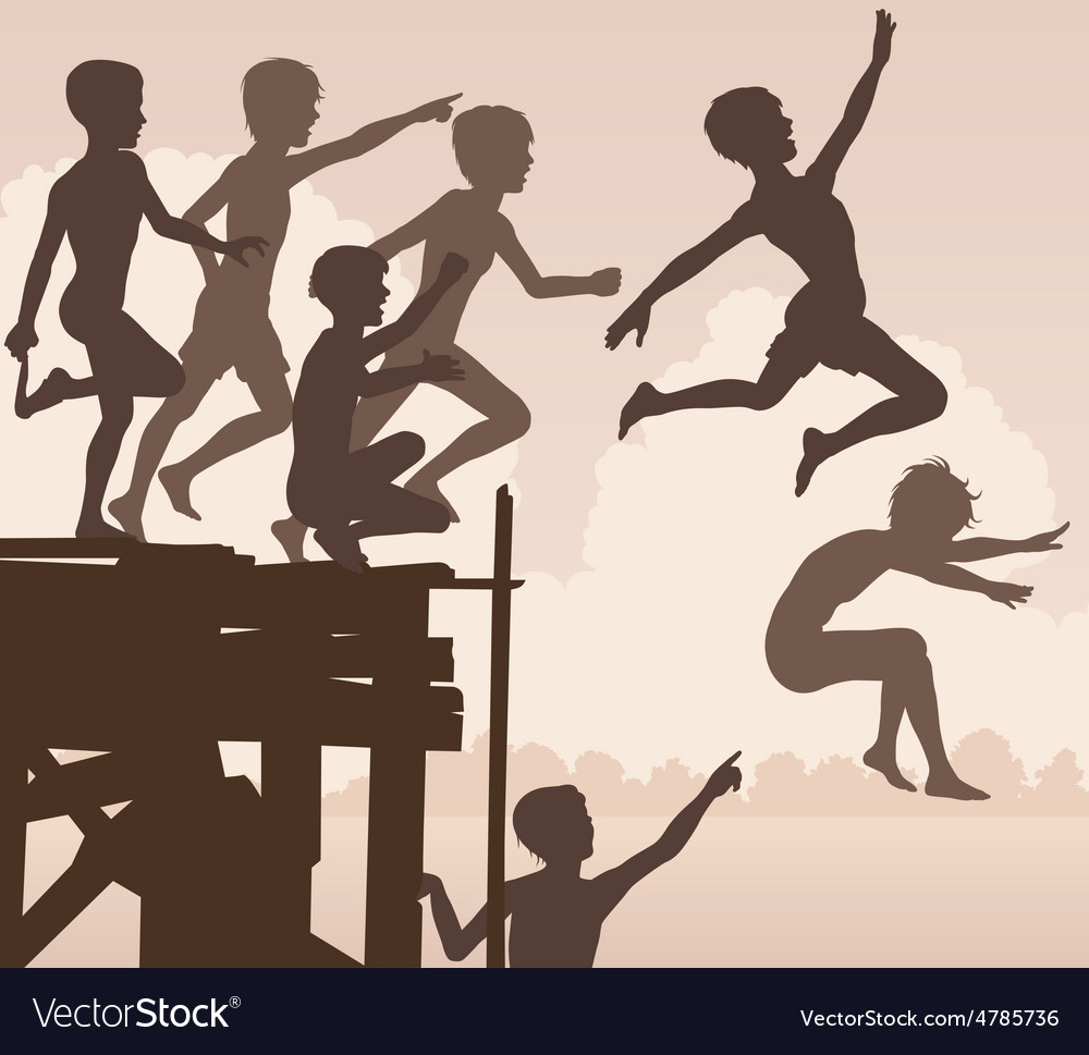 Jetty jumping boys vector
