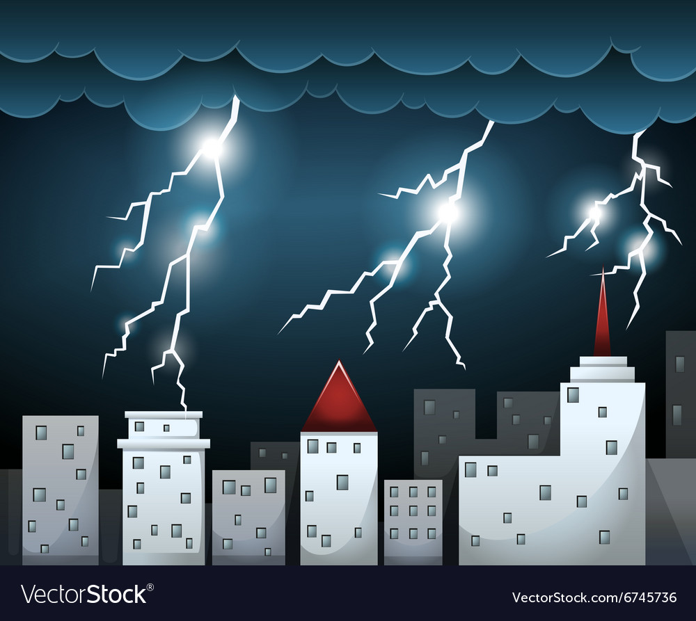 Thunderstorm and dark clouds over city vector