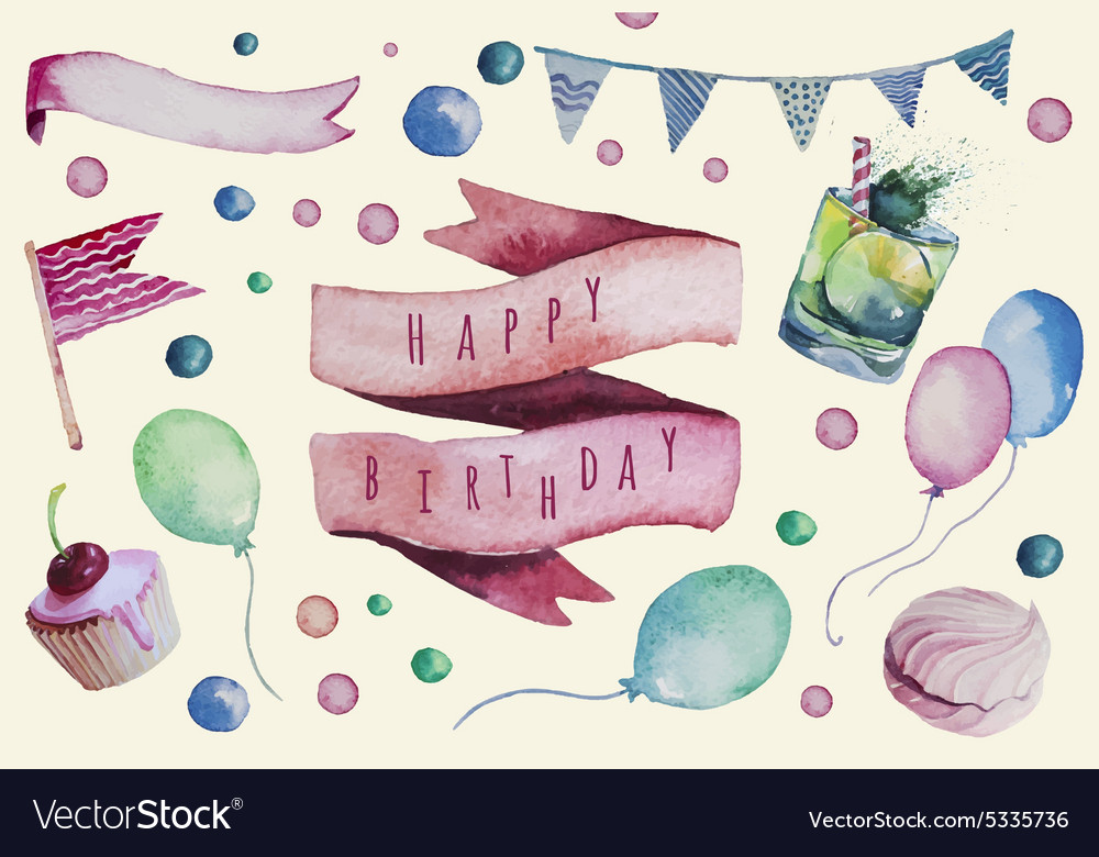 Watercolor happy birthday set hand drawn vintage vector