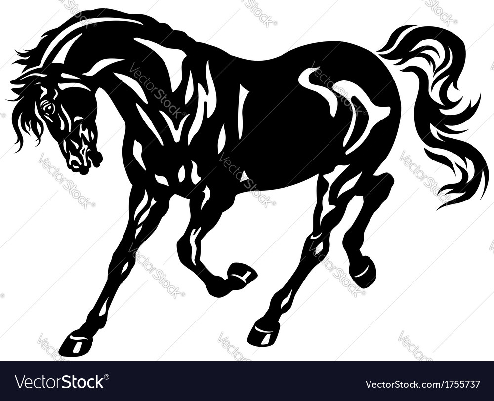 Running black horse vector