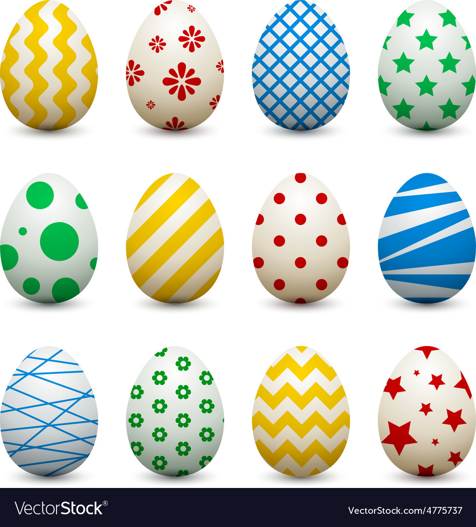 Set of 3d eggs with different patterns for easter vector