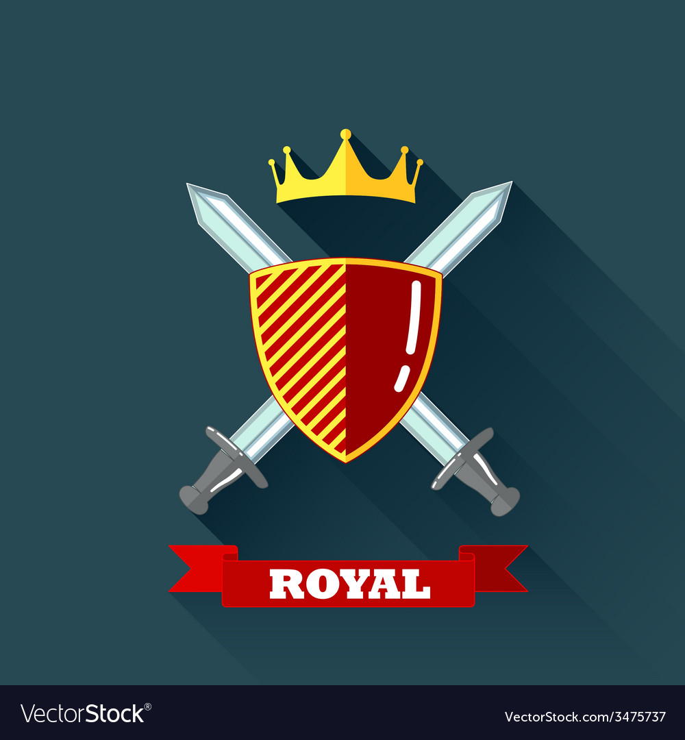 With crossing swords shield and crown in flat vector