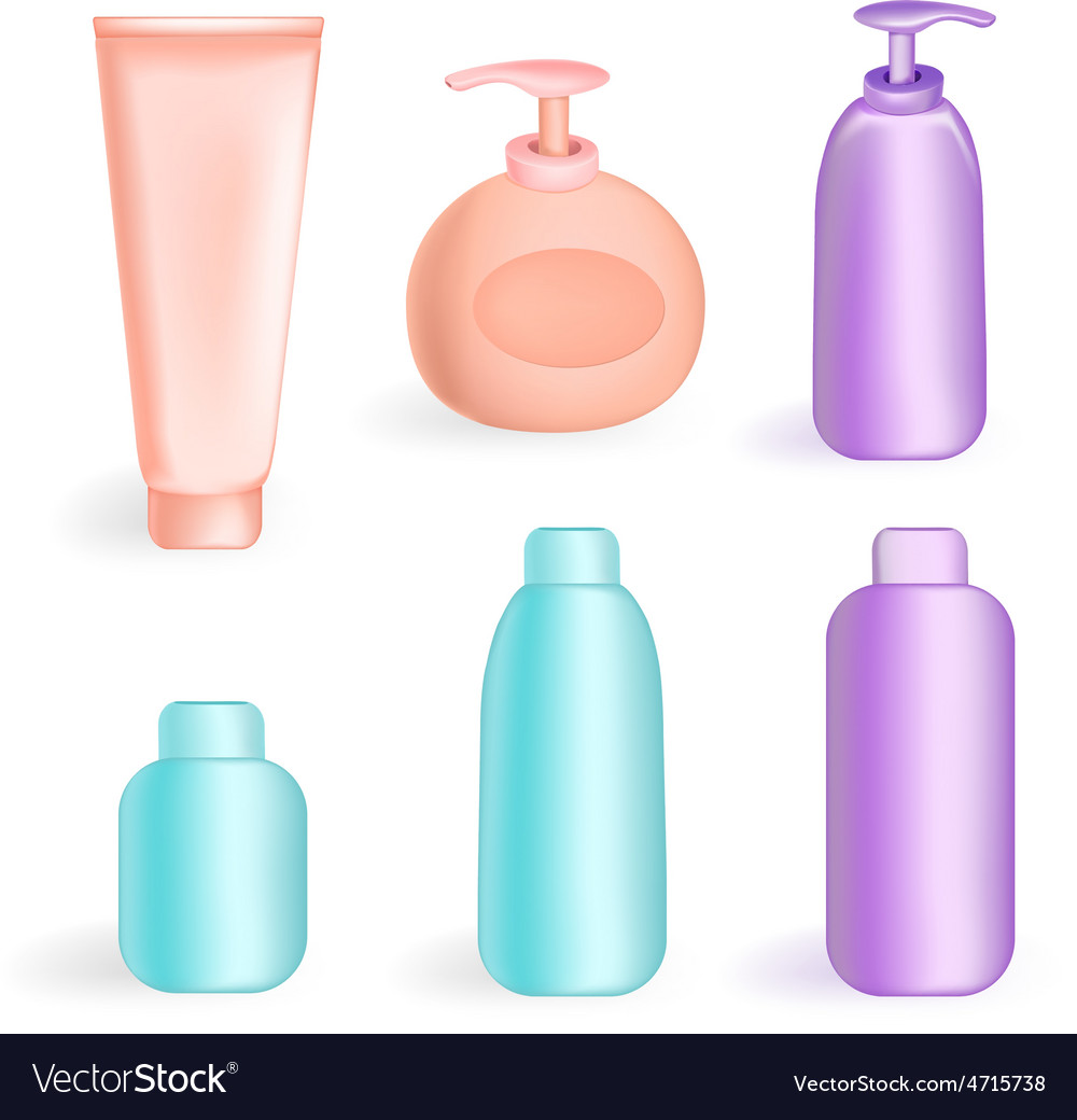 Set tube and jars in color vector