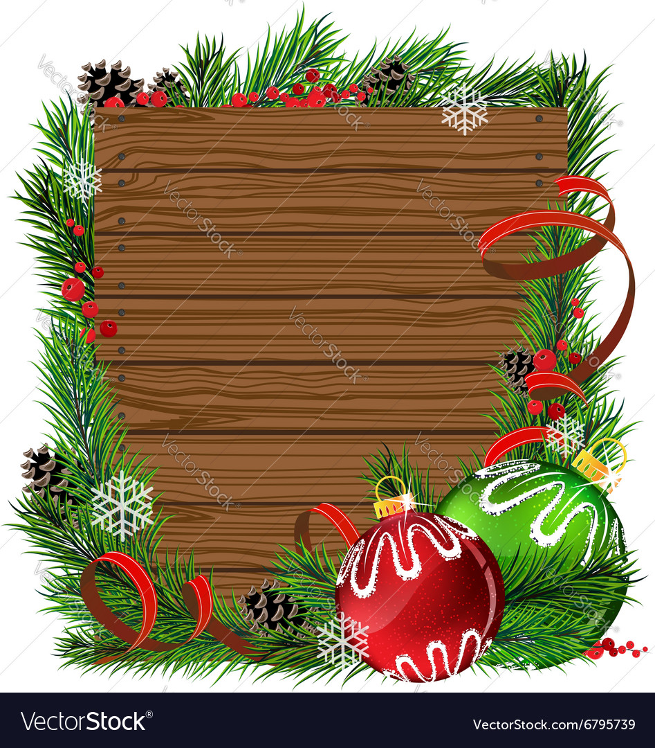 Christmas balls and pine branches on wooden board vector
