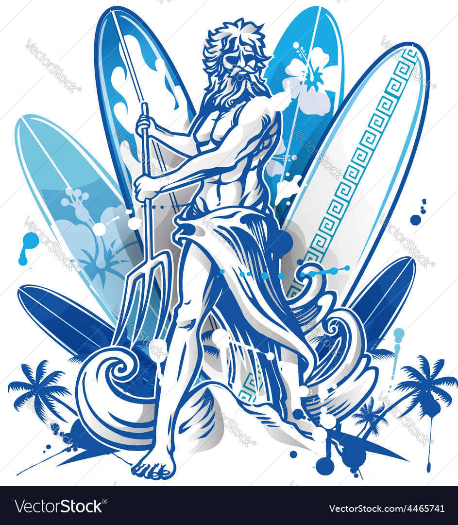 Poseidon surfer on surfboard background vector