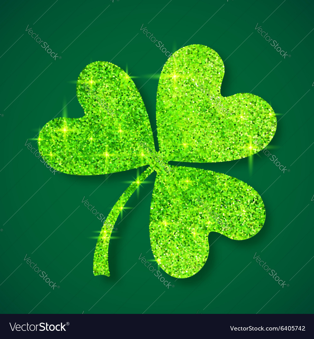 Green shining glitter glamour clover leaf on dark vector