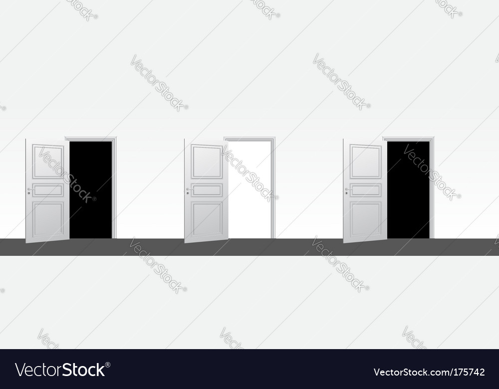 Three doors open vector