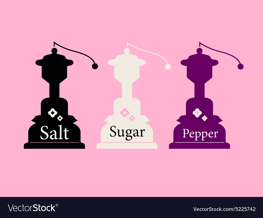 Vintage salt sugar and pepper collection vector