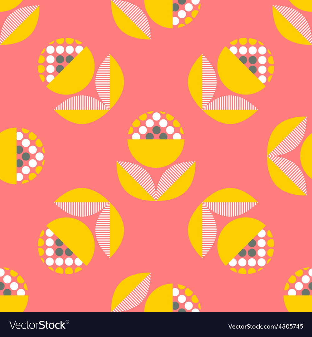 Abstract seamless pattern with floral elements vector