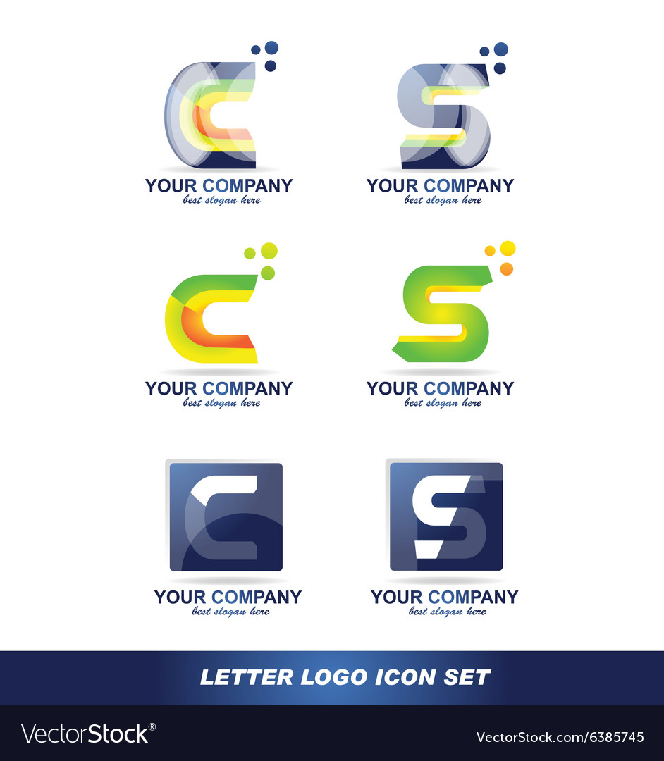 Letter c s logo icon set vector