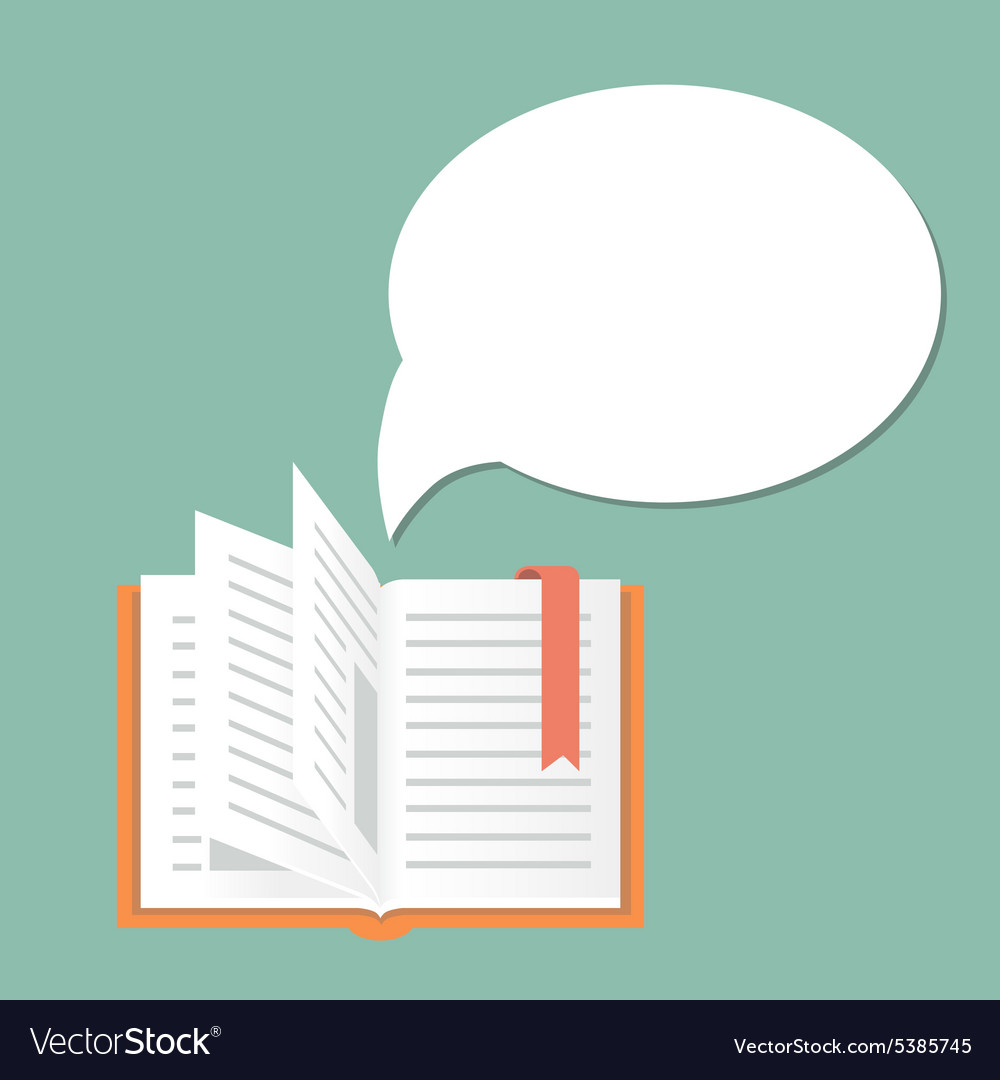 Open book background with speech bubble vector