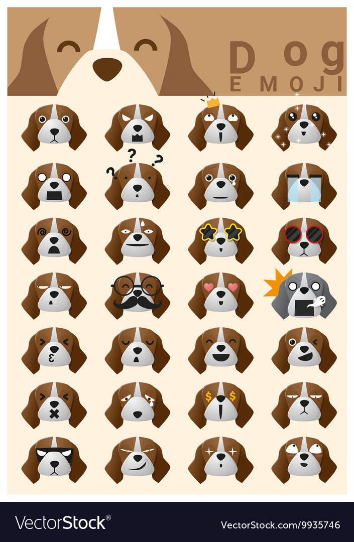 Dog emoji icons 2 vector