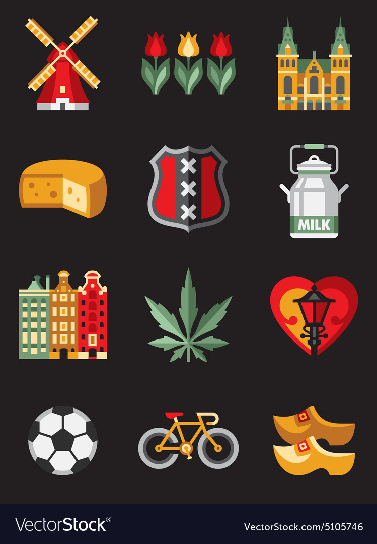 Netherlands travel symbols vector
