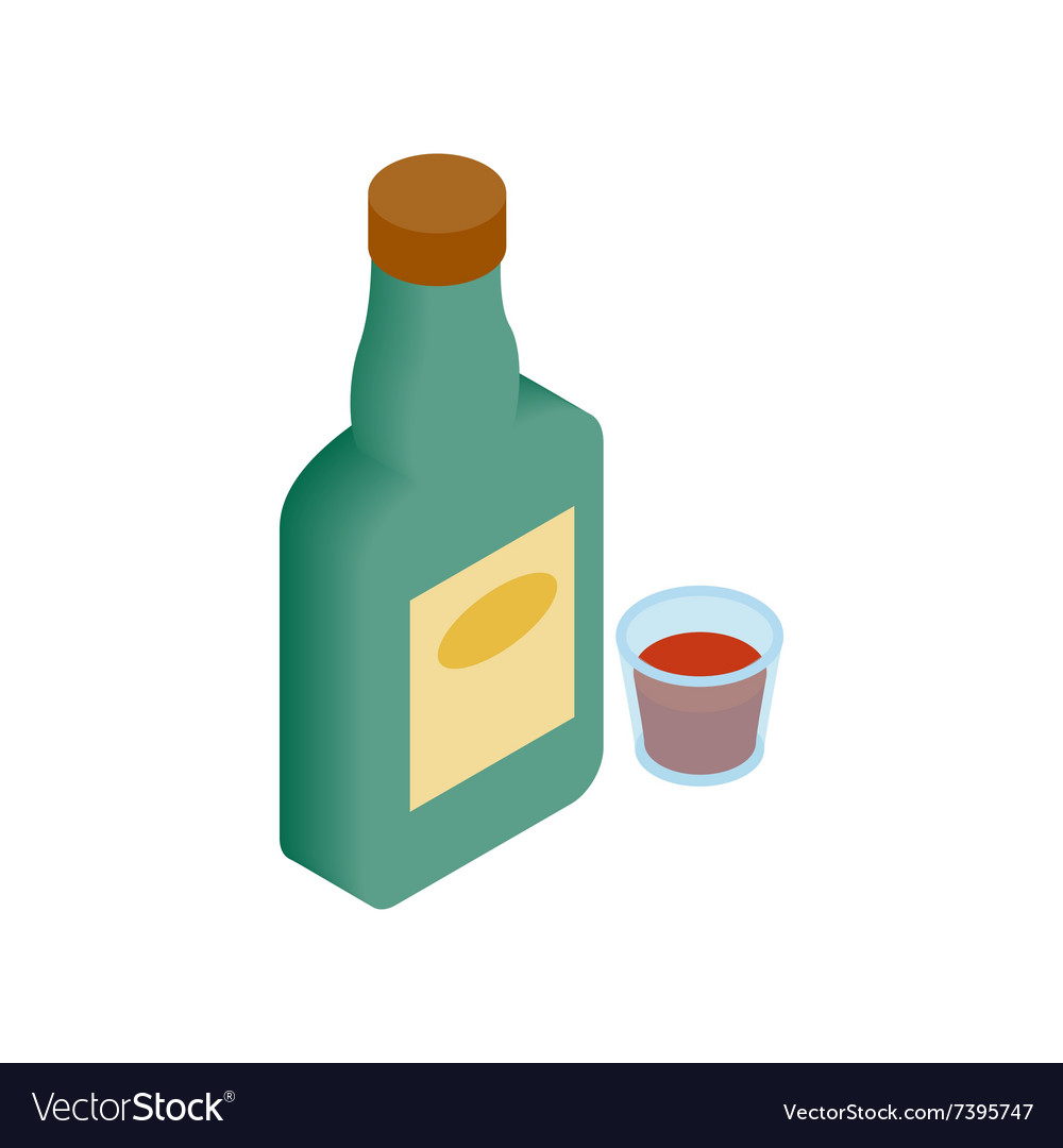A bottle of alcohol and a glass isometric 3d icon vector