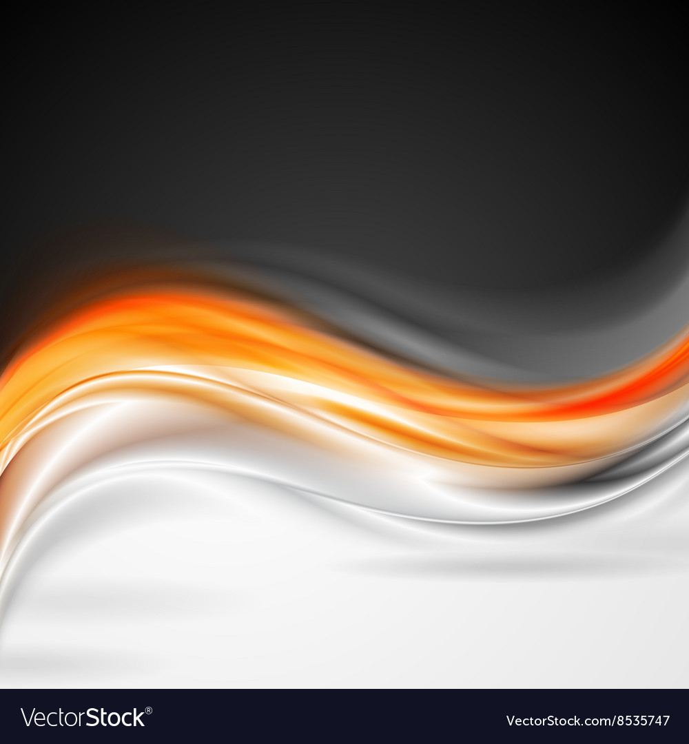 Shiny orange grey wave background vector