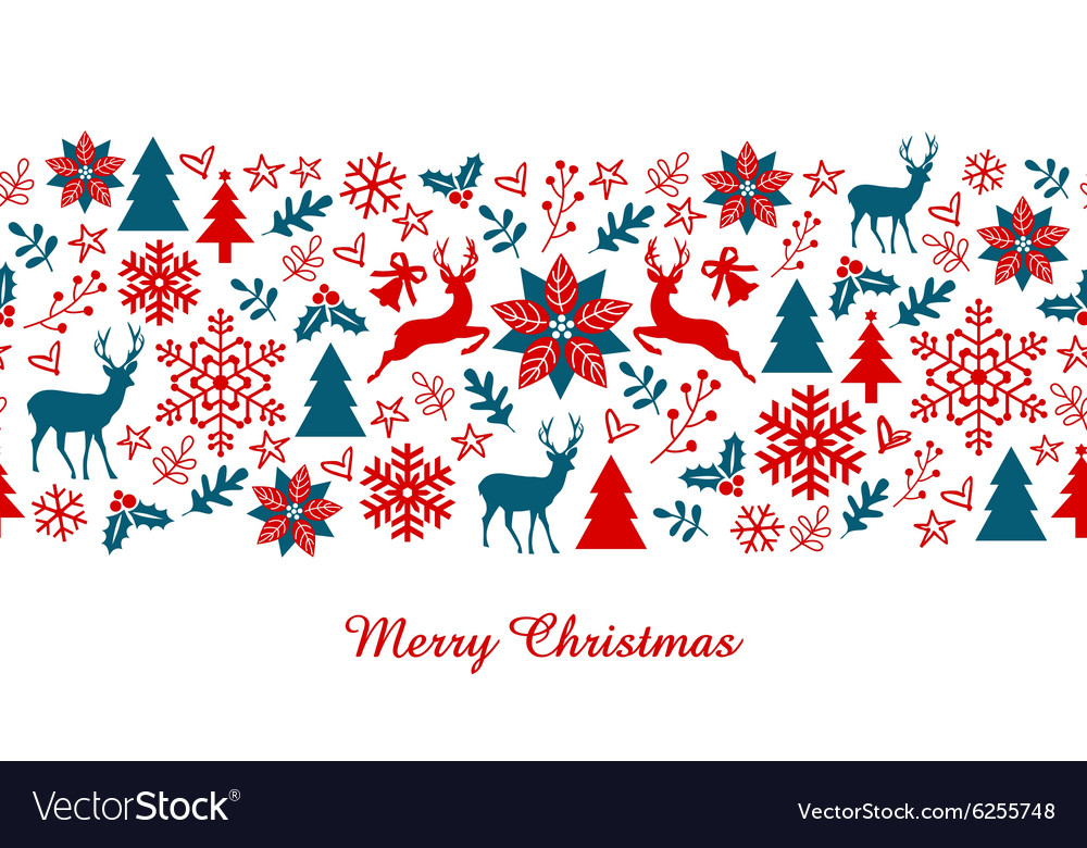 Christmas banner seamless pattern vector
