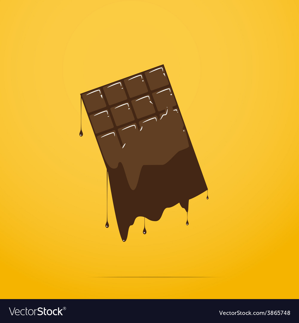 Melted chocolate bar vector