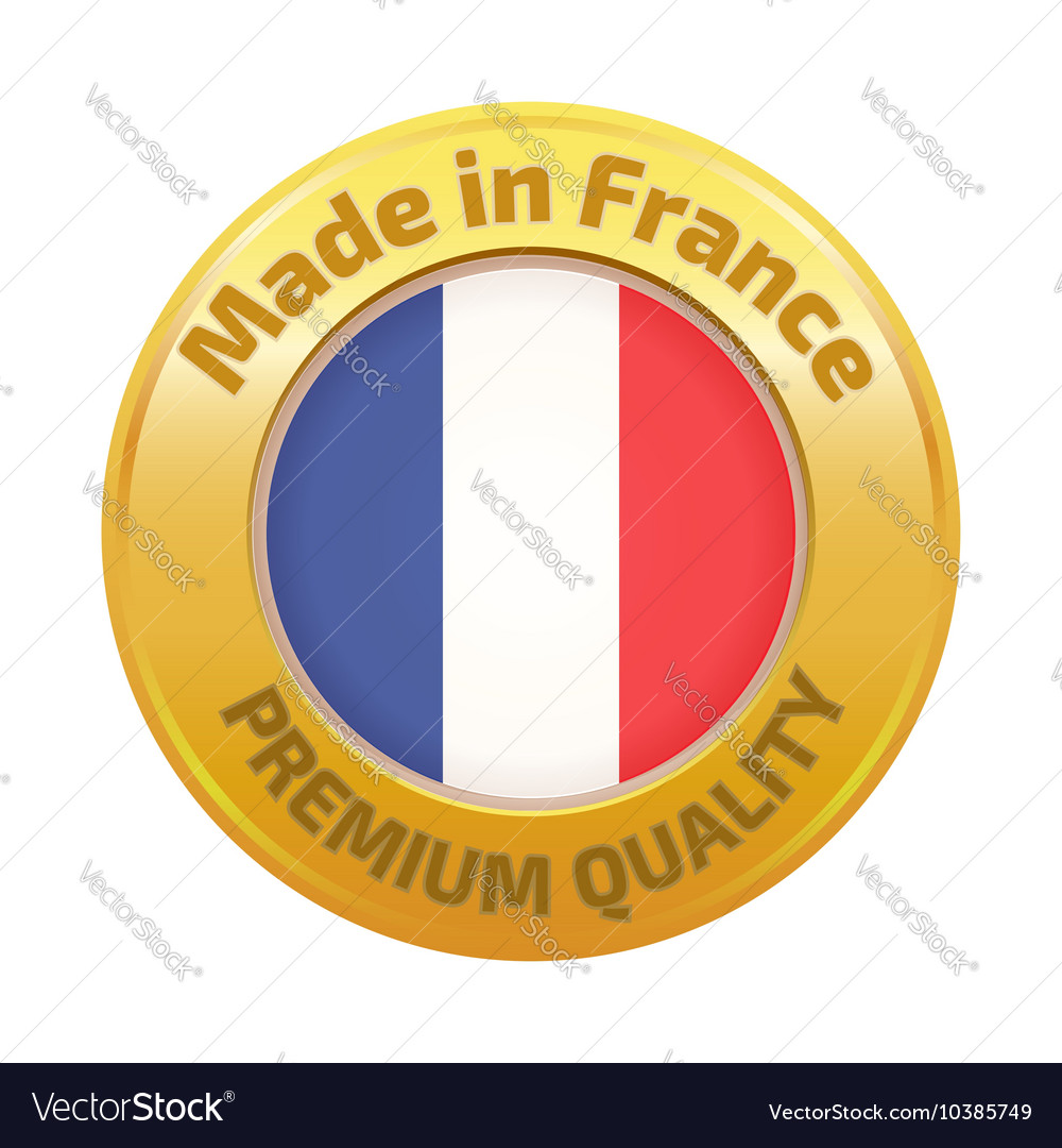 Made in france badge gold vector