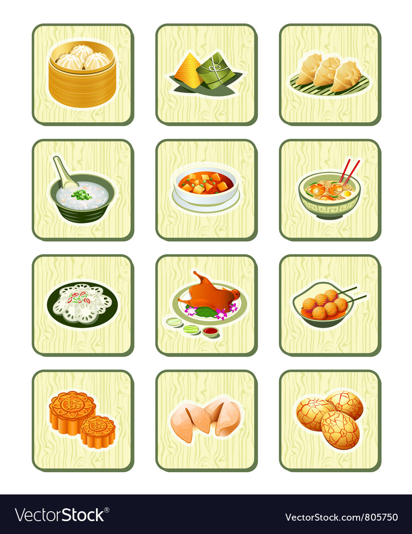 Chinese icons  bamboo series vector