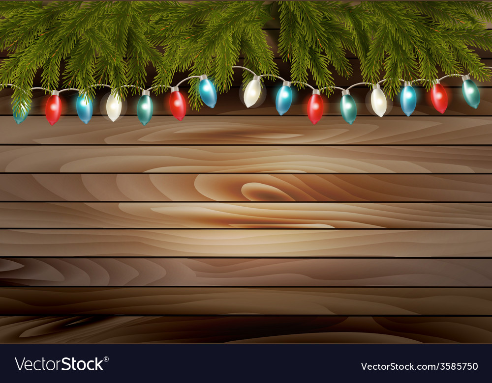 Christmas wooden background with branches and a vector