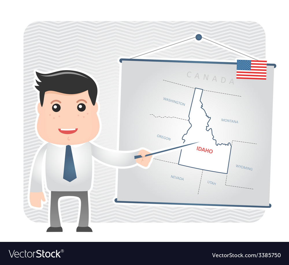 Man with a pointer points to a map of idaho vector
