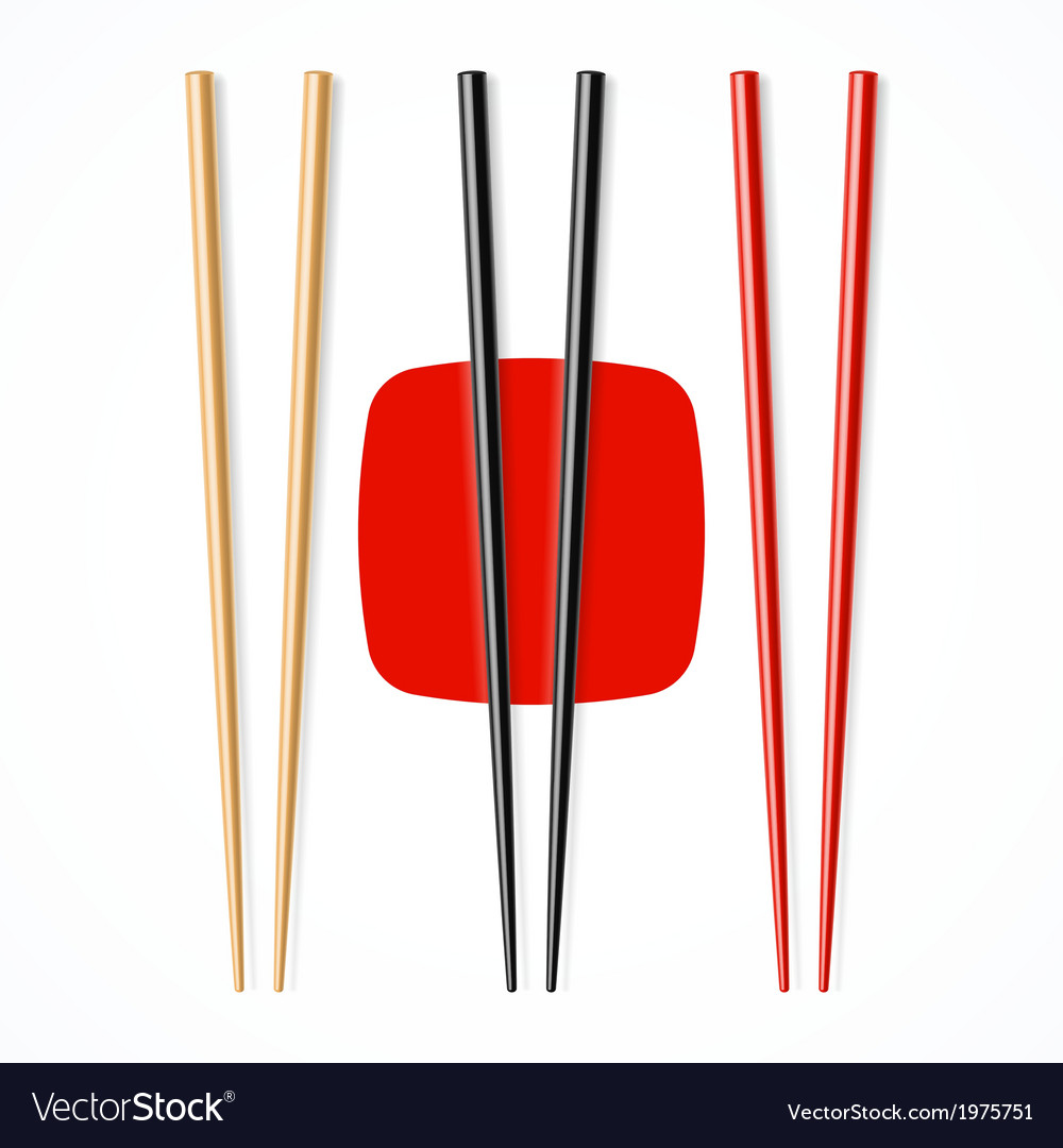 Red black wooden chopsicks vector