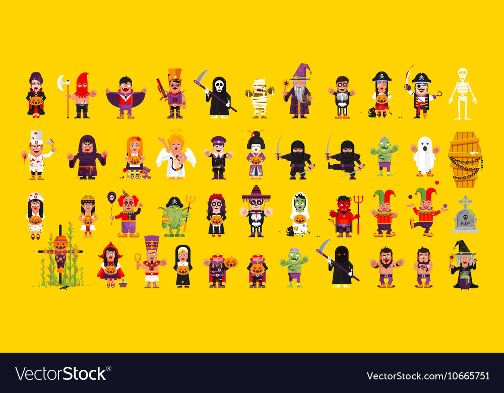 Set of characters for halloween in a flat style vector