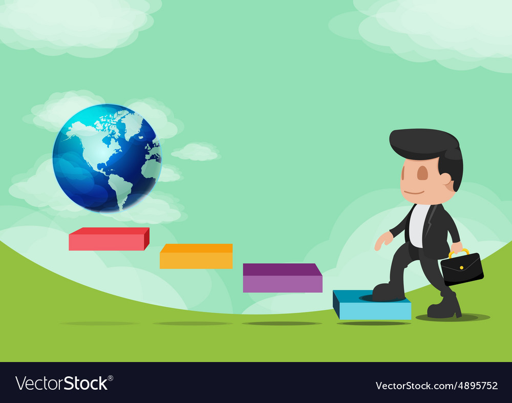Business man walk go world success vector