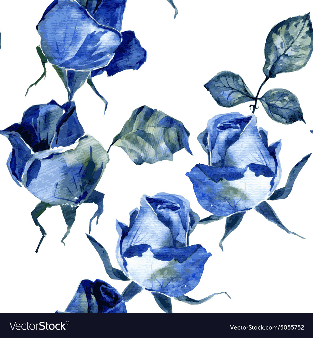 Seamless pattern with blue roses vector