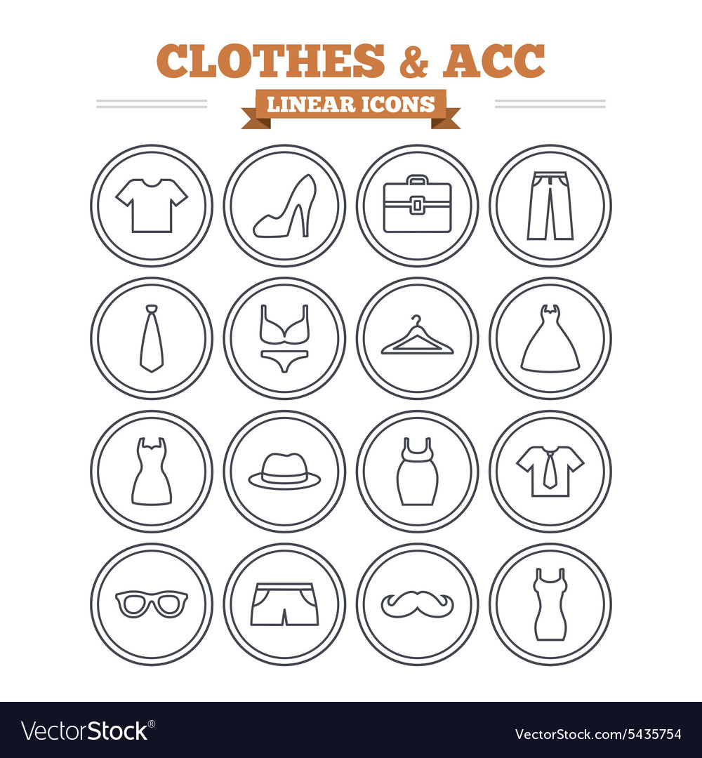 Clothes and accessories linear icons set thin vector