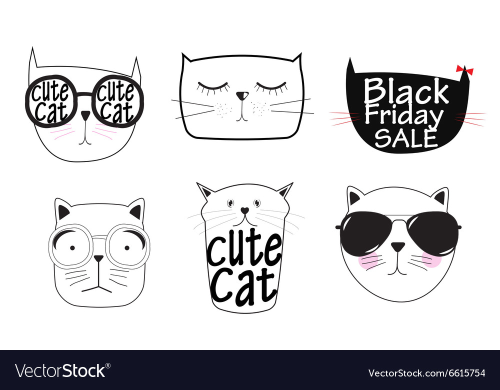Cute handdrawn cat set vector