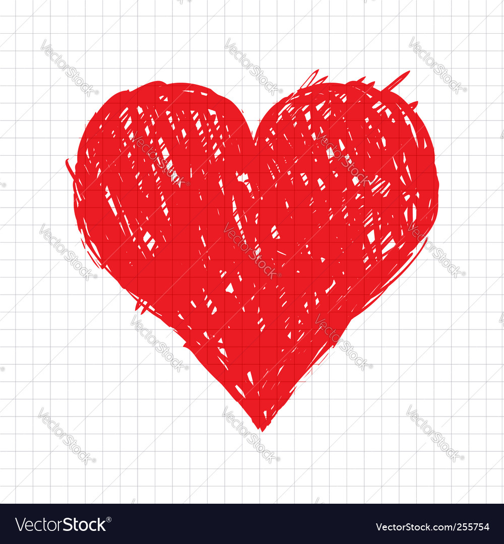 Sketch heart shape vector