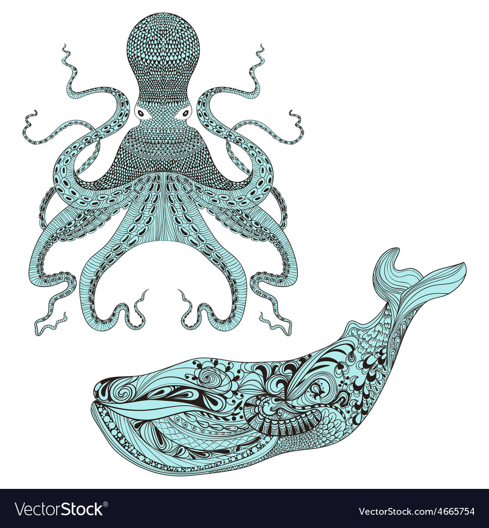 Zentangle stylized octopus and whale hand drawn vector