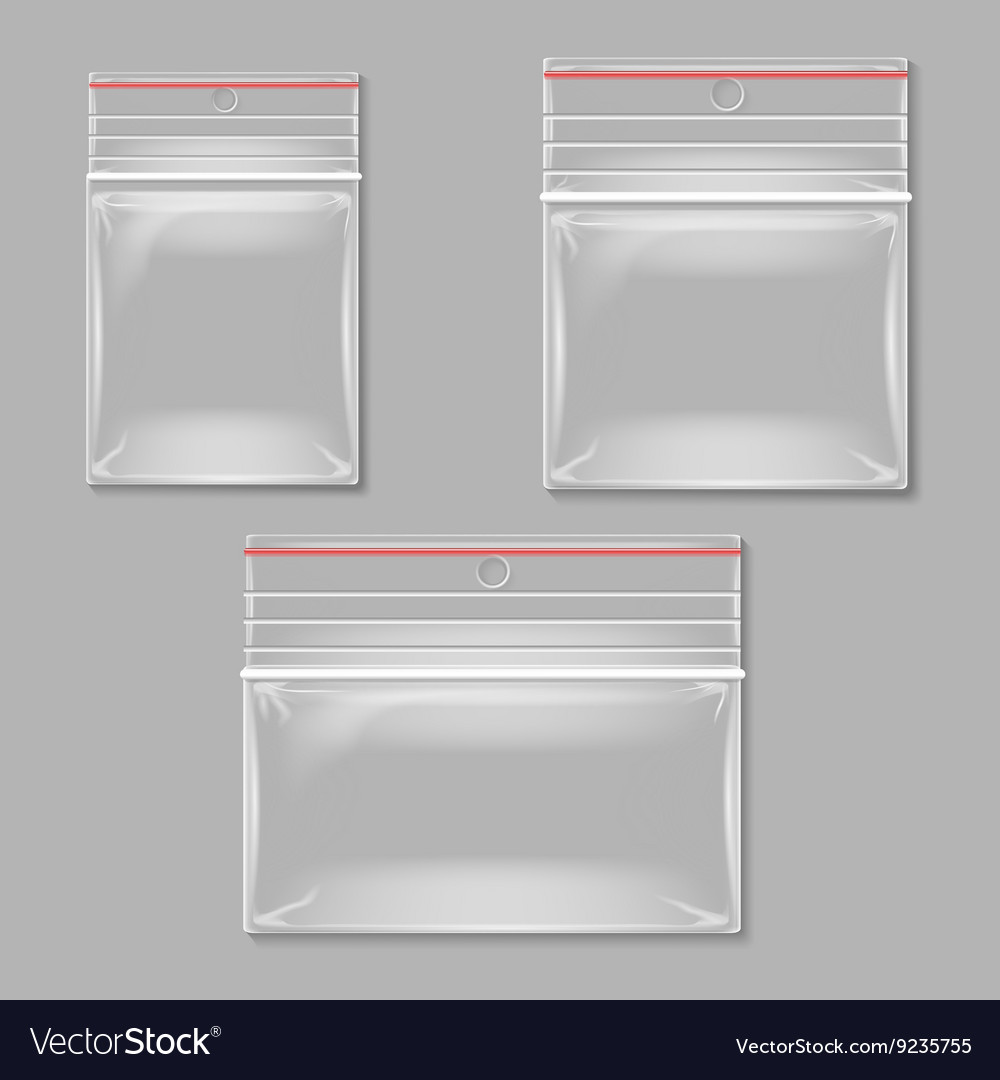 Blank transparent plastic zipper bag set vector
