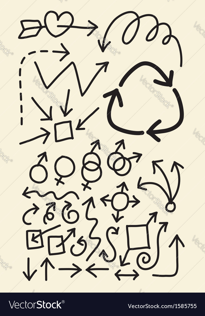 Doodle arrow hand drawing symbols vector