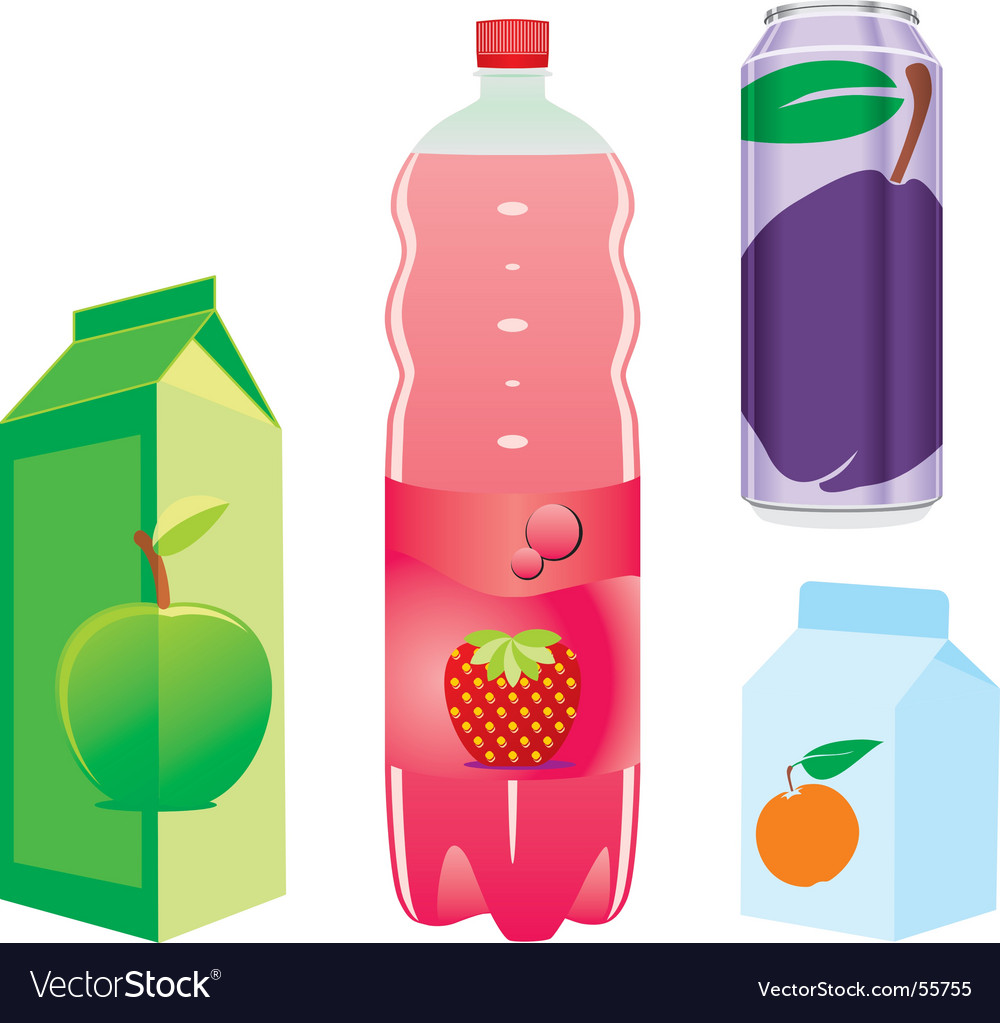 Fruit juice recipients vector