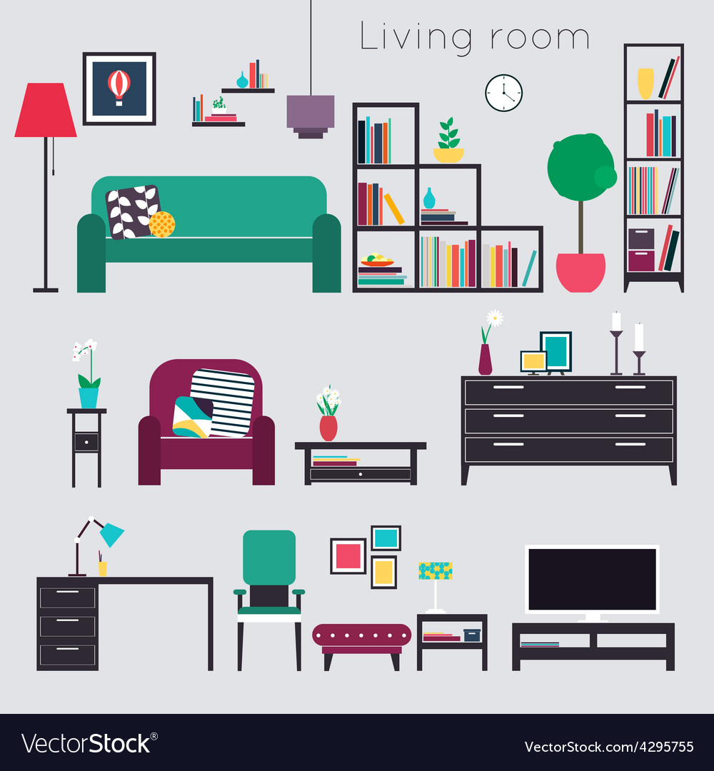 Livingroomliving room furniture vector