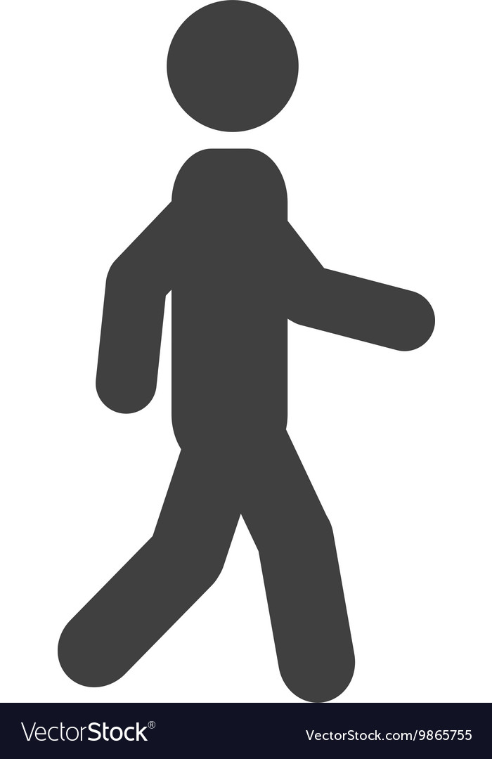Man walking silhouette icon vector