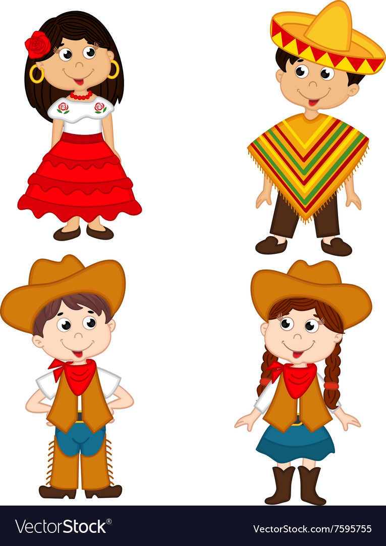 Set of isolated children of mexican and cowboy vector