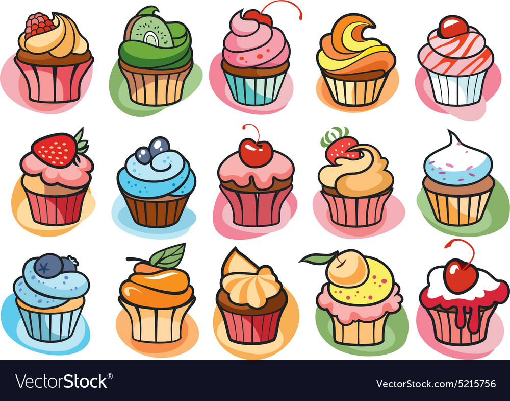 15 colorful delicious cupcakes vector