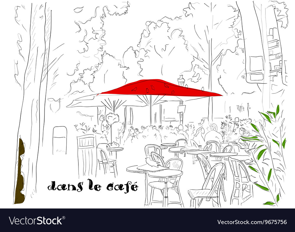Cafe on the champselysees 2 vector