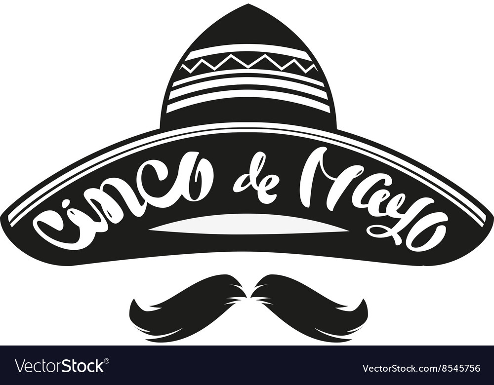 Cinco de mayo mexican wide brimmed hat sombrero vector