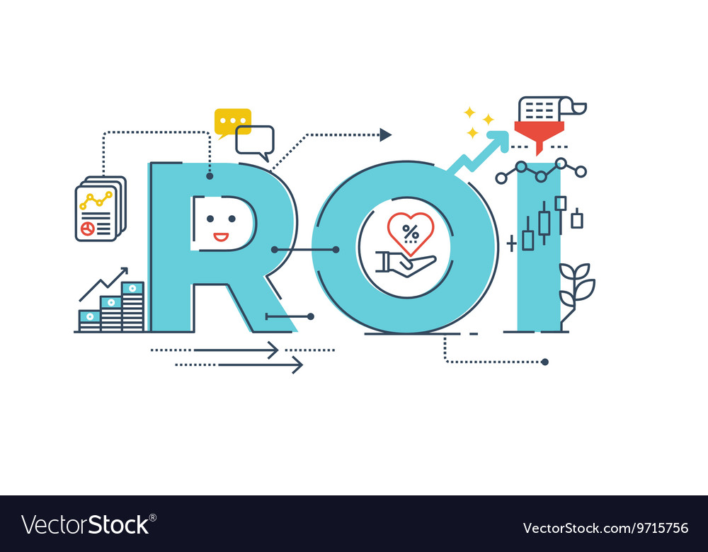 Return on investment word design vector