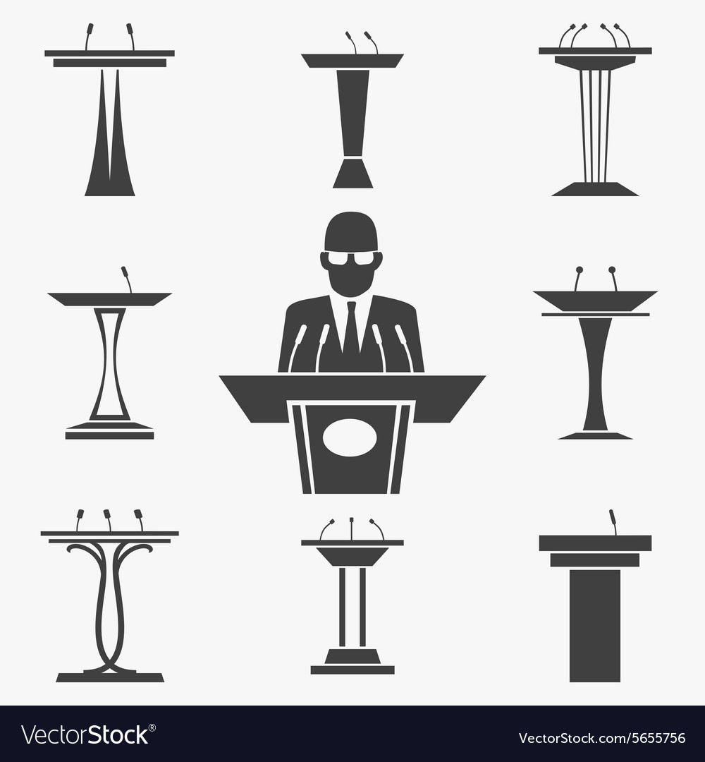 Set of tribunes icons vector